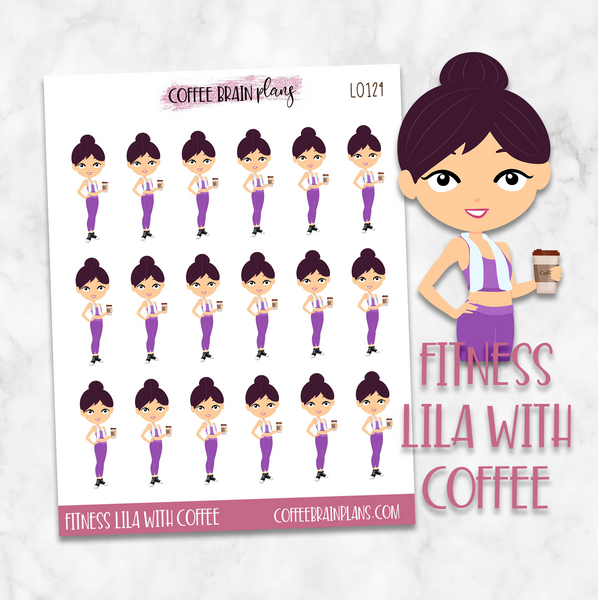 Fitness Lila Workout Character Planner Stickers