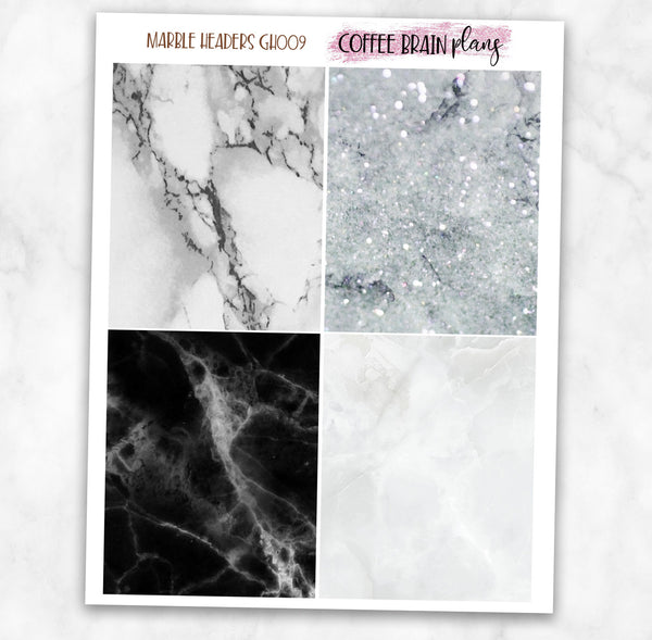 Neutral Marble Glitter Deco Headers Planner Stickers
