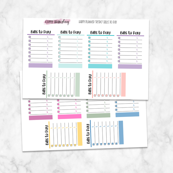 Bills to Pay Boxes Classic Happy Planner Stickers