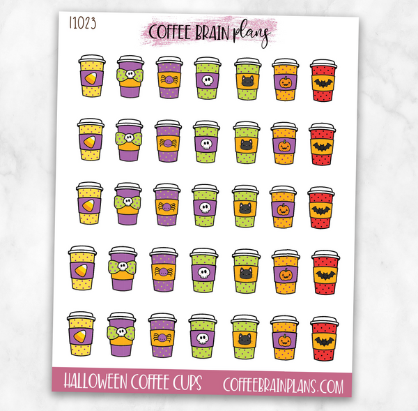 Halloween Coffee Cups Planner Stickers
