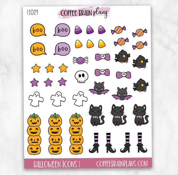 Halloween Icons Sheet 1 Planner Stickers
