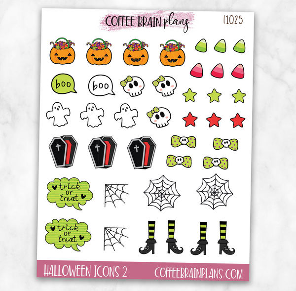 Halloween Icons Sheet 2 Planner Stickers