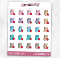 Lunch Bag School Icons Planner Stickers