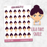 Lila Fake Smile Character Planner Stickers