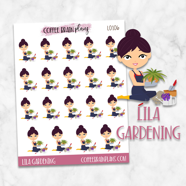 Lila Gardening Character Planner Stickers