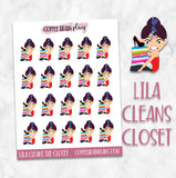 Lila Cleans the Closet Organizing Character Planner Stickers