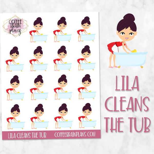 Lila Cleans the Tub Character Planner Stickers