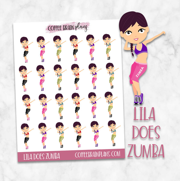 Lila Does Zumba Character Planner Stickers