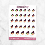 Lila Drinks Wine Character Planner Stickers
