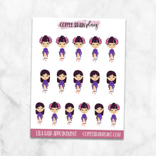 Lila Hair Appointment Character Planner Stickers