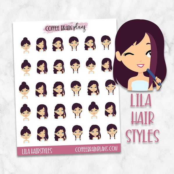 Lila Hair Styles Character Planner Stickers
