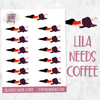 Lila Needs Coffee Character Planner Stickers