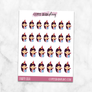 Party Lila Birthday Celebrate Character Planner Stickers