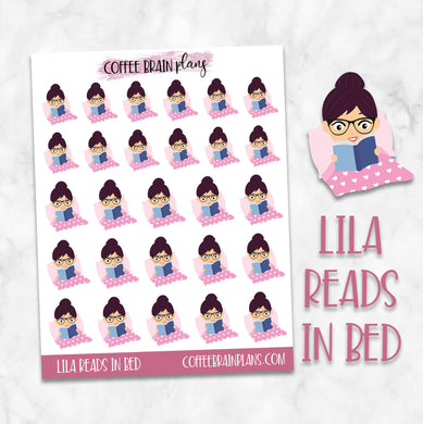 Lila Reads in Bed Character Planner Stickers