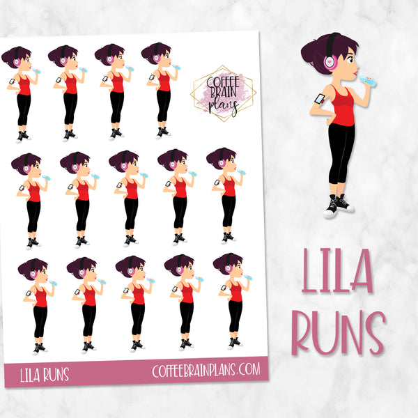 Lila Runs Character Planner Stickers