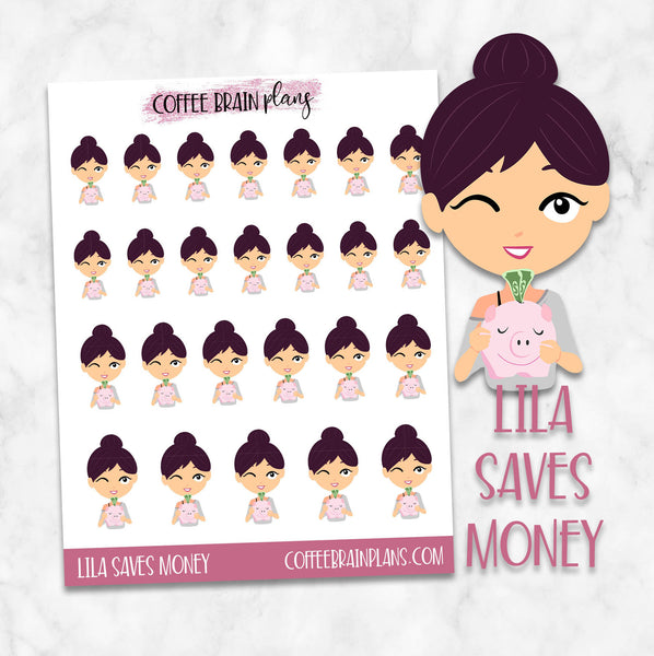 Lila Saves Money Budget Character Planner Stickers