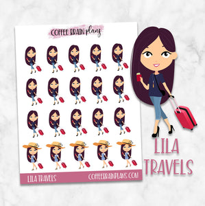 Lila Travels Character Planner Stickers