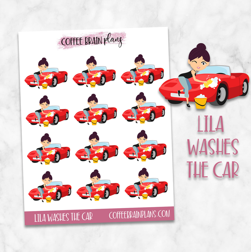 Lila Washes the Car Character Planner Stickers