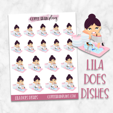 Lila does the Dishes Character Planner Stickers