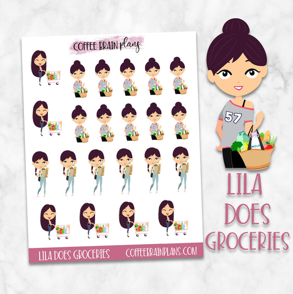 Lila Does Groceries Character Planner Stickers