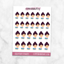 Lila Folds Towels Character Planner Stickers