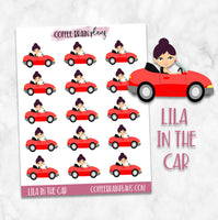 Lila in the Car Road Trip Character Planner Stickers