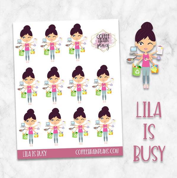 Lila is Busy Character Planner Stickers