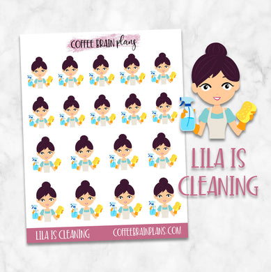 Lila is Cleaning Character Planner Stickers