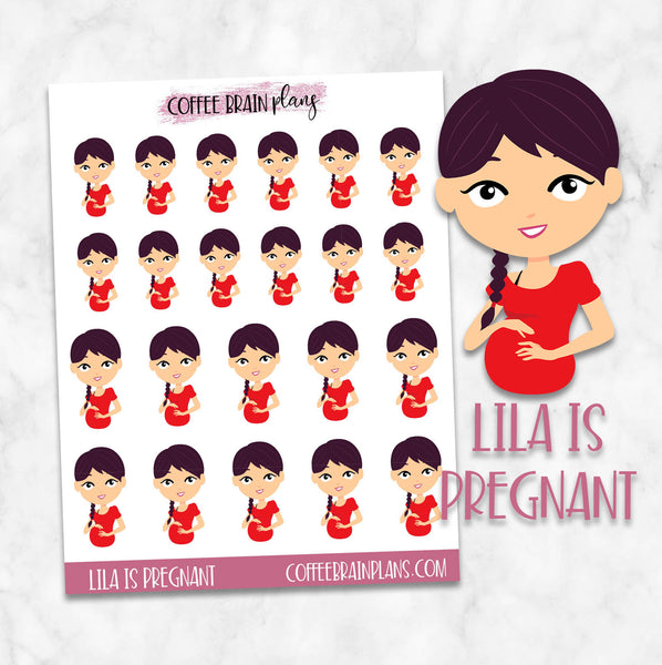 Lila is Pregnant Character Planner Stickers