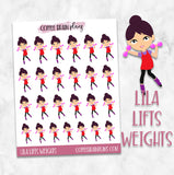 Lila Lifts Weights Fitness Character Planner Stickers