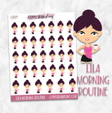 Lila Morning Routine Coffee Character Planner Stickers