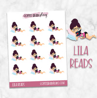 Lila Reading Books Character Planner Stickers
