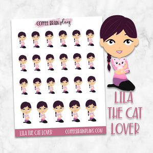 Lila the Cat Lover Character Planner Stickers