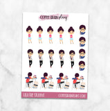 Lila the Student School Character Planner Stickers