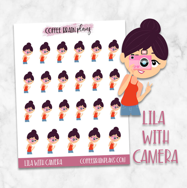 Lila With Camera Photos Character Planner Stickers