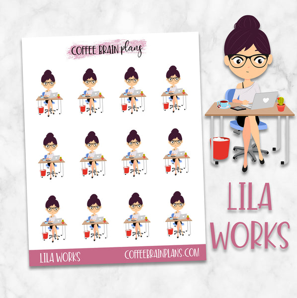 Planner Girl Lila Working Character Planner Stickers