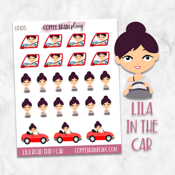 Lila Road Trip / In the Car Character Planner Stickers
