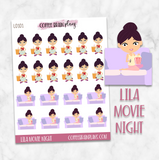 Lila Movie Night Character Planner Stickers