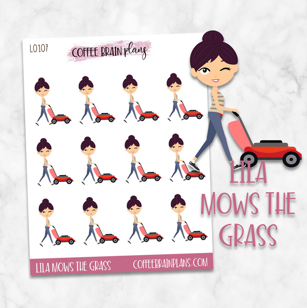 Lila Mows the Lawn Character Planner Stickers
