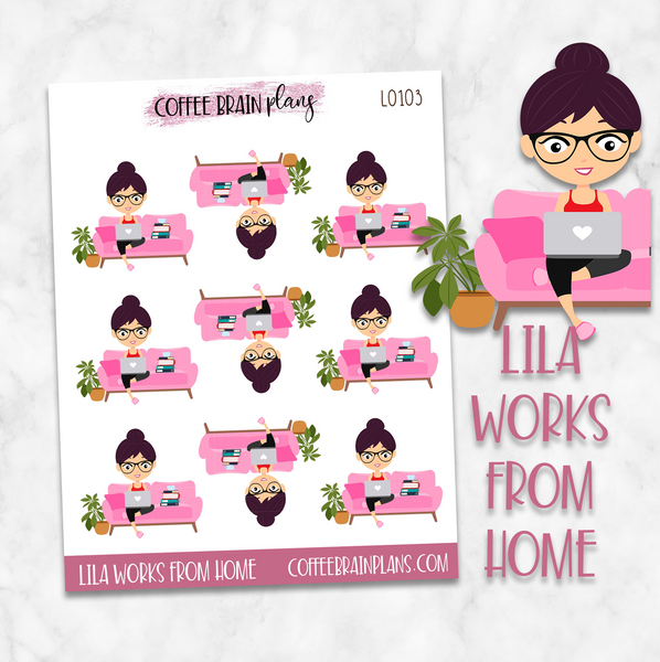 Lila Works From Home Character Planner Stickers