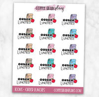Order Lunches School Icons Text Script Planner Stickers