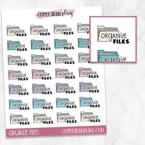Organize Files Work Text Icons Planner Stickers