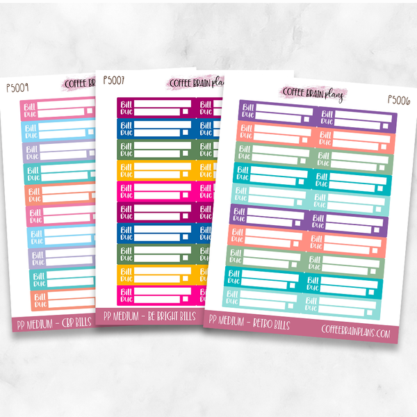 Passion Planner Medium Bill Due Boxes Planner Stickers