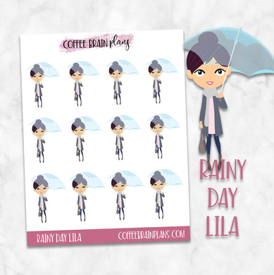 Rainy Day Lila Character Planner Stickers
