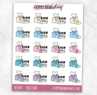 Sick Day Icons Text Script Planner Stickers