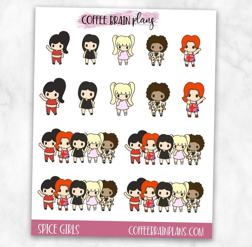 Spice Girls Doodles Character Planner Stickers