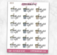 Take-Out Night Script Text Icons Planner Stickers