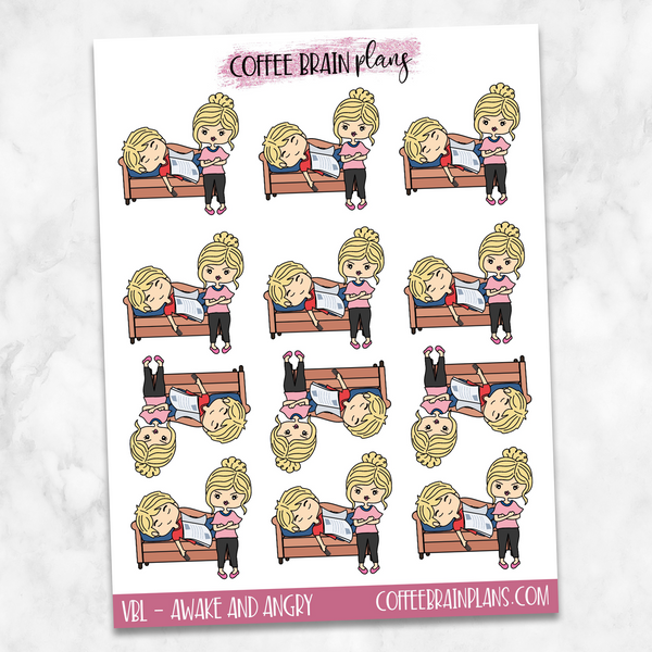 Custom Couple Velda Angry at Victor Sleeping Hand-Drawn Character Planner Stickers