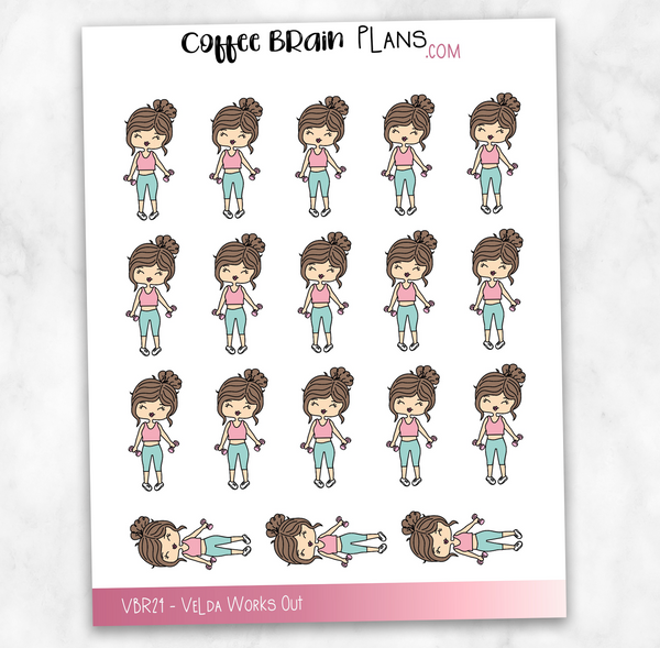 Velda Workout Fitness Hand-Drawn Character Planner Stickers