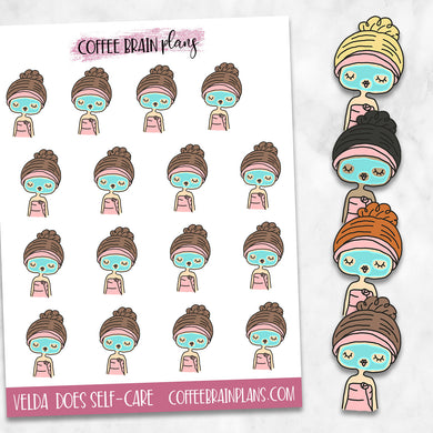 Velda Does Self-Care Hand-Drawn Character Planner Stickers